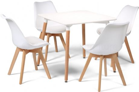 Toulouse Tulip Eiffel Designer Dining Set White Square Table & 4 White Chairs Sale Now On Your Price Furniture